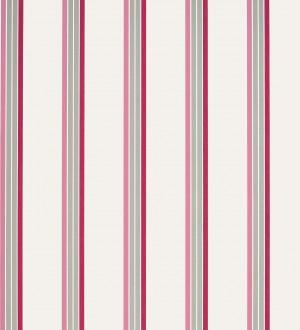 Papel pintado de rayas finas rosa, beige fondo blanco Raya Verisa 421518
