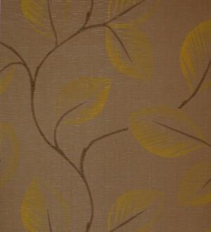 Papel pintado japonés de ramas y hojas grandes marrón caqui fondo marrón claro Layma 421519
