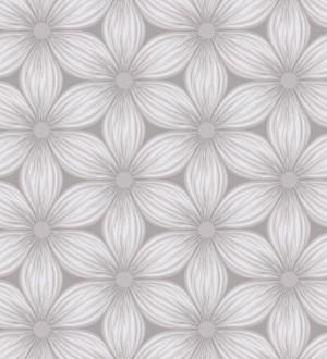 Papel pintado de margaritas nórdicas blanco fondo gris Amarela 421527