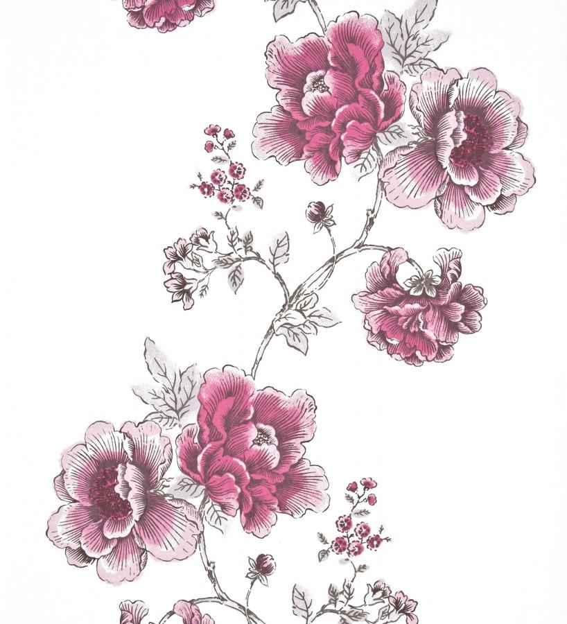 Papel pintado dibujo artístico de flores grandes rosa intenso fondo blanco Lucena 421530