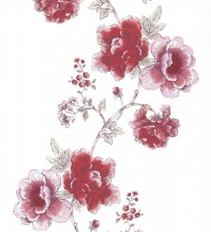 Papel pintado dibujo artístico de flores grandes rojo intenso fondo blanco Lucena 421531