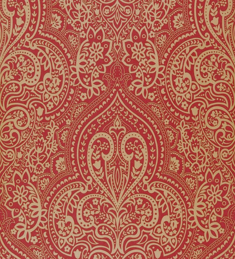 Papel pintado damasco hindú con reminiscencias árabes ocre claro fondo rojo oscuro Zarban 421532
