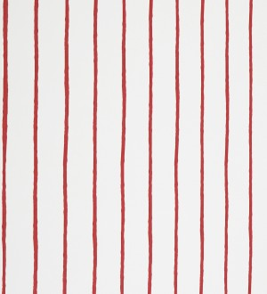 Papel pintado rayas finas artísticas a pincel rojo fondo blanco Raya Odiel 421535