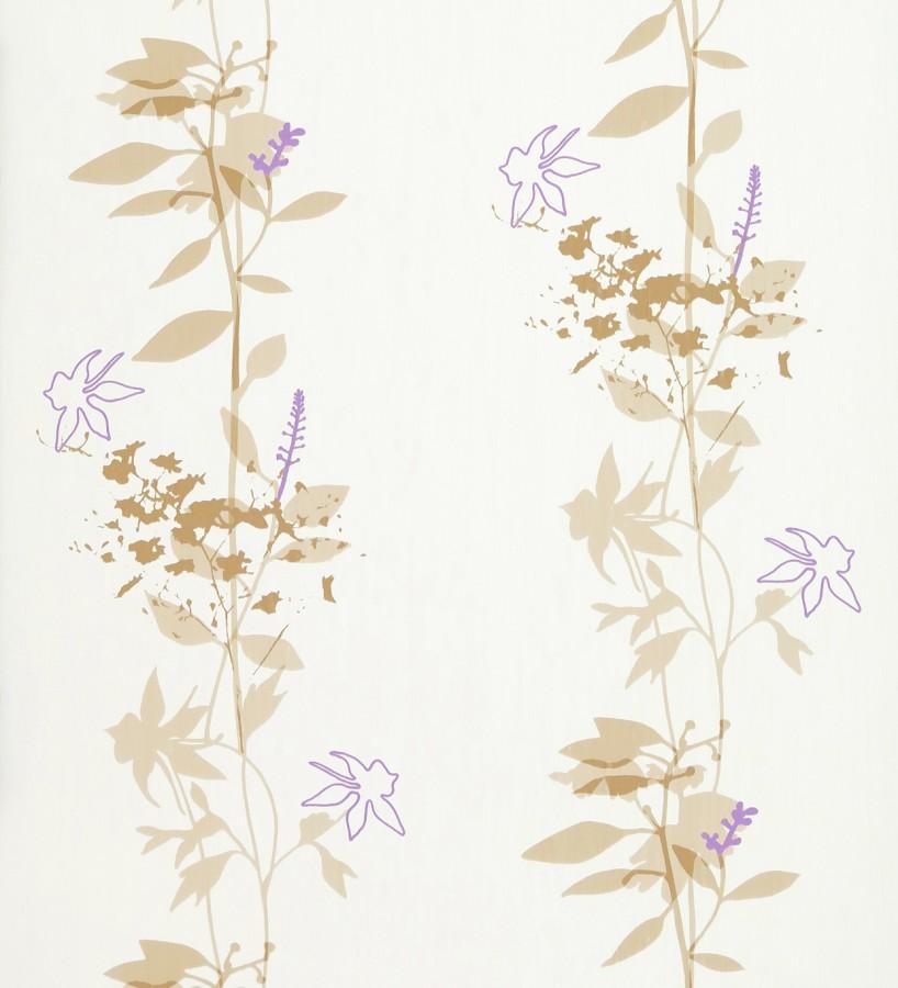 Papel pintado con hojas dibujando líneas verticales lila fondo blanco Cirenia 421536