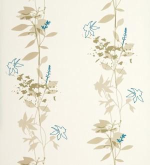 Papel pintado con hojas dibujando líneas verticales verde turquesa fondo blanco Cirenia 421537