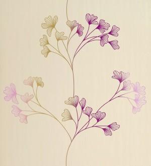 Papel pintado floral con dibujos de pétalos pequeños morado arcilla fondo beige claro Emilce 421538