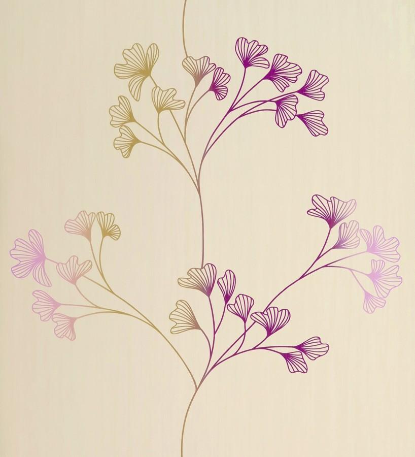 Papel pintado floral con dibujos de p talos peque os for Papel pintado paisajes