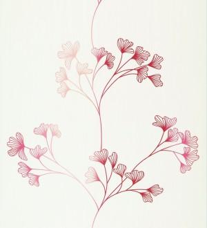 Papel pintado floral con dibujos de pétalos pequeños rosa intenso fondo blanco roto Emilce 421539