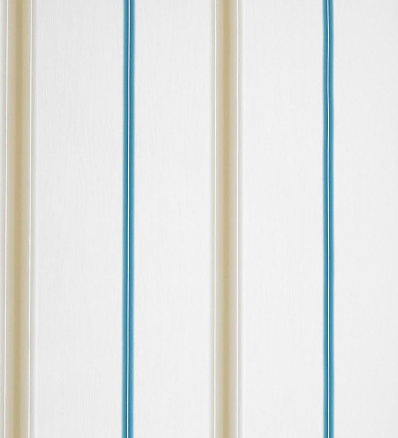Papel pintado rayas finas artísticas difuminadas azul turquesa fondo blanco Raya Alvin 421540