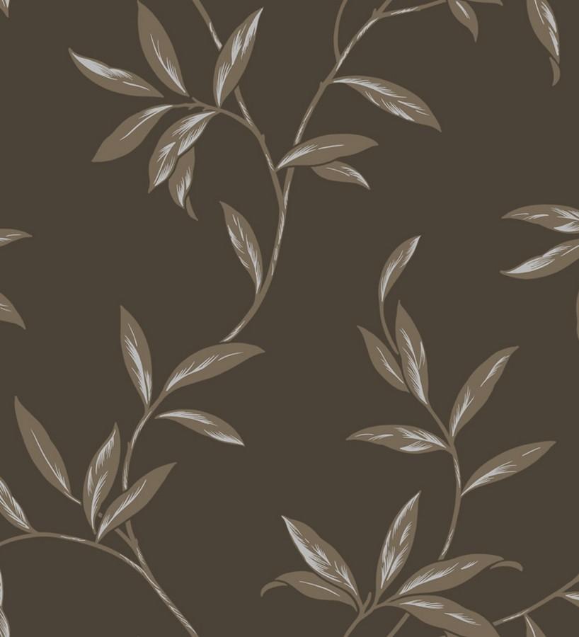 Papel pintado de ramas y hojas otoñales gris visón fondo gris visón oscuro Nandia 421545