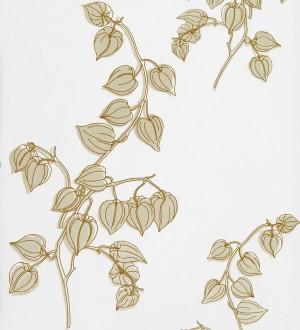 Papel pintado artístico a plumilla de flores sin abrir beige pálido fondo blanco Tatiana 421547