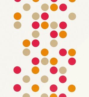 Papel pintado retro de circulos o puntos multicolor Funky Dots 421549