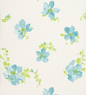 Papel pintado artístico con dibujos de flores en acuarela verde jade fondo blanco Tiare 421551