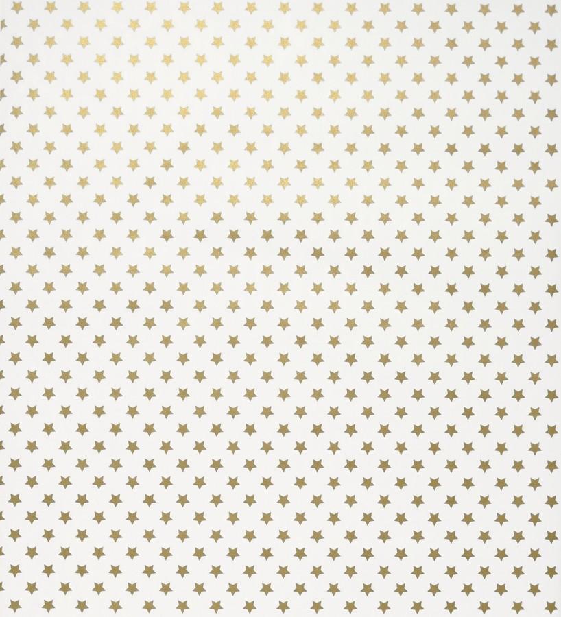 Papel pintado juvenil de estrellas pequeñas oro metalizado fondo blanco Fancy Stars 421556