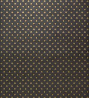 Papel pintado juvenil de estrellas pequeñas oro metalizado fondo negro Fancy Stars 421557