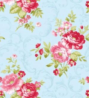 Papel pintado inglés con flores grandes románticas rosa oscuro fondo celeste aguamarina Lolita 421558