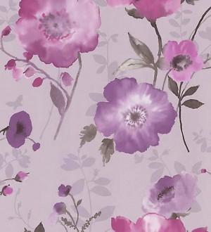 Papel pintado con flores de amapola magenta fondo lila Loving Flower 421559