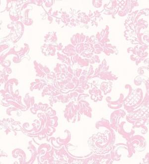 Papel pintado de flores y elementos ornamentales rosa claro fondo blanco Isadora 421562