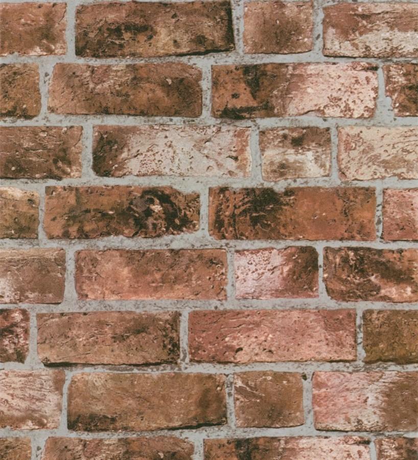 Papel pintado de ladrillo r stico estilo industrial rojo teja sunderland 421566 - Papel pintado rustico ...