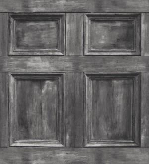 Papel pintado casetón de madera inglés gris Galeone 421569