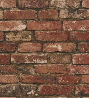 Papel pintado muro de ladrillos rústico rojo teja Overton 421571