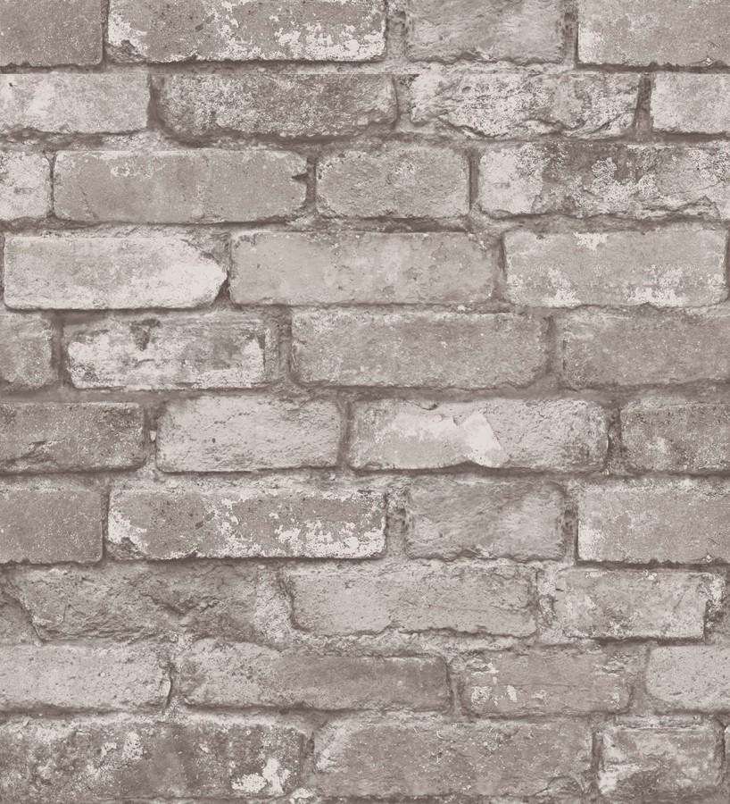 Papel pintado muro de ladrillos rústico gris claro Overton 421572