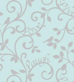 Papel pintado romántico hojas ornamentales gris perla metalizado fondo celeste aguamarina Loving Home 421577