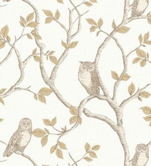 Papel pintado de búhos y árboles nórdicos beige claro fondo blanco Sleepy Owls 421582