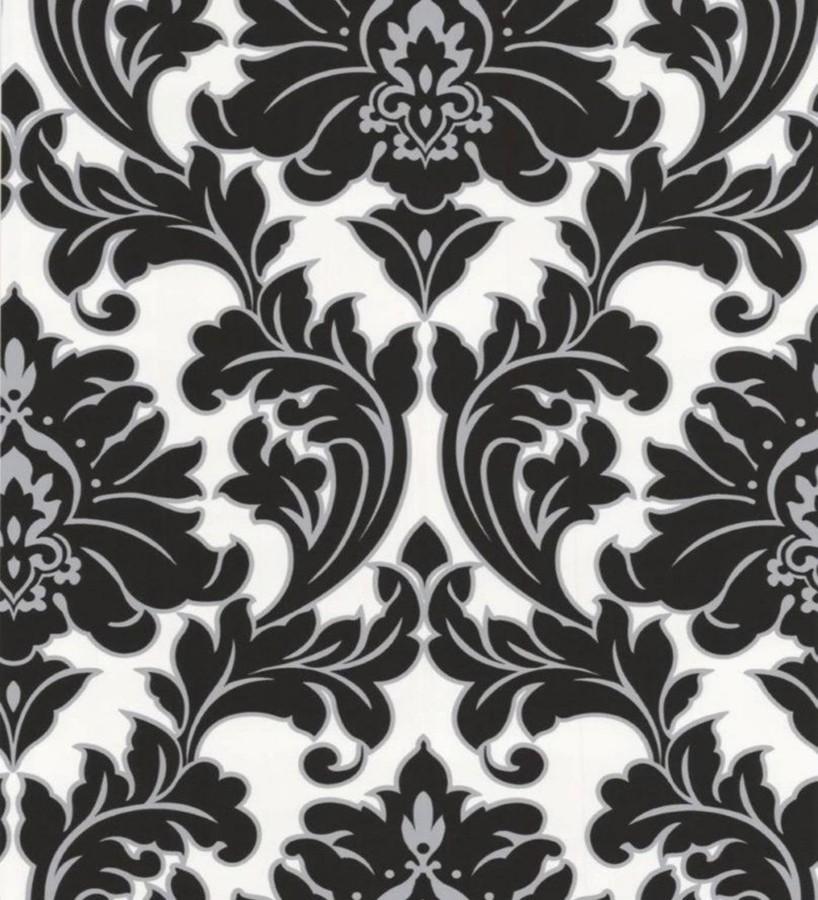 Papel pintado damasco barroco moderno negro fondo blanco Giorgio 421583