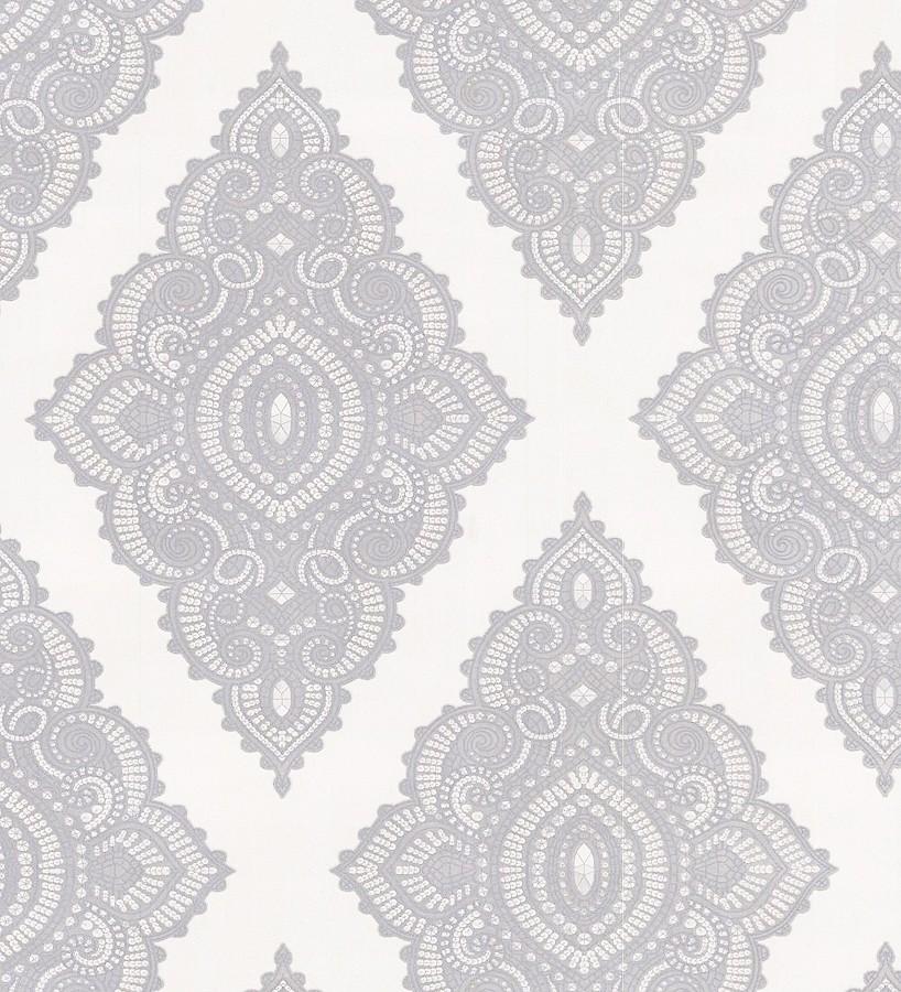 Papel pintado damasco étnico hindú gris, gris perla metalizado,blanco Turban 421584