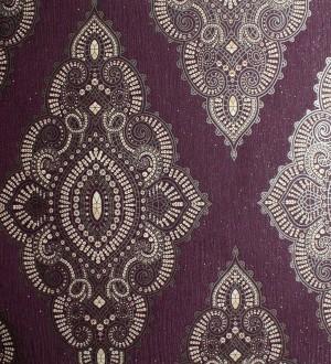 Papel pintado damasco étnico hindú beige oscuro, perla metalizado,morado arcilla Turban 421585
