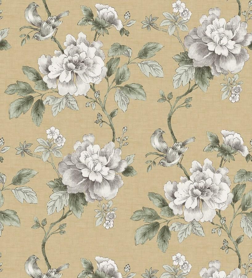 Papel pintado de p jaros y flores cl sicas vis n fondo for De papel pintado