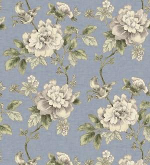 Papel pintado de pájaros y flores clásicas beige claro fondo azul lavanda pálido Floralie 421591