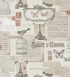 Papel pintado de pájaros y notas músicales en París gris oscuro fondo beige pálido Salut Amour 421592