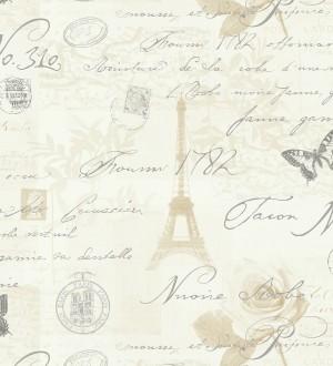 Papel pintado vintage con cartas y mariposas en París beige oscuro fondo marfil oscuro París Vintage 421594