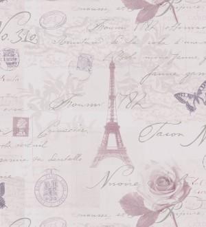 Papel pintado vintage con cartas y mariposas en París marrón arcilla claro fondo malva claro París Vintage 421595