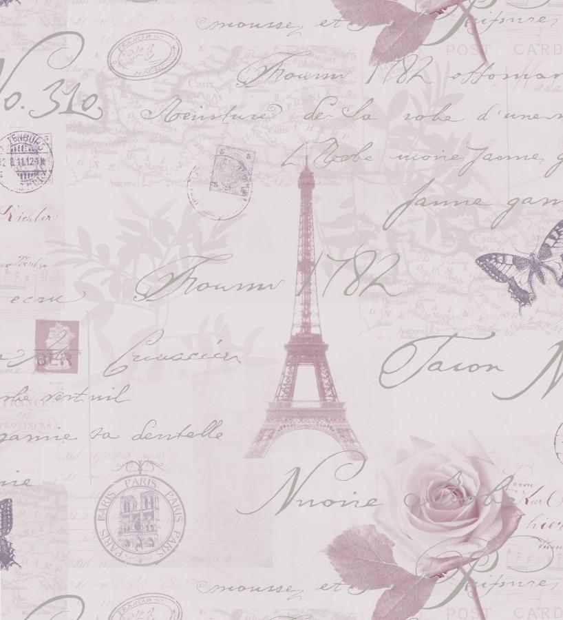 Papel pintado vintage con cartas y mariposas en par s - Papel vintage pared ...