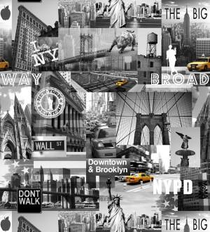 Papel pintado de New York Brooklyn Broadway Wall Street amarillo intenso fondo gris NY Inspiration 421599