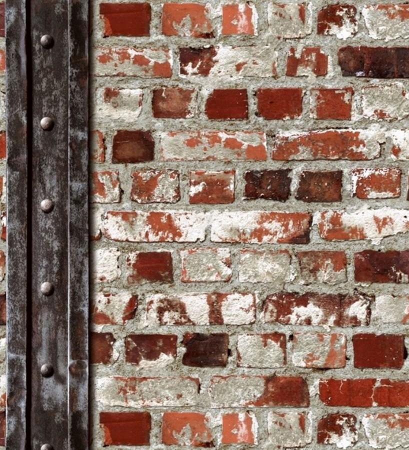 Papel pintado muro de ladrillos y viga estilo industrial rojo caldera Riverton 2 421602