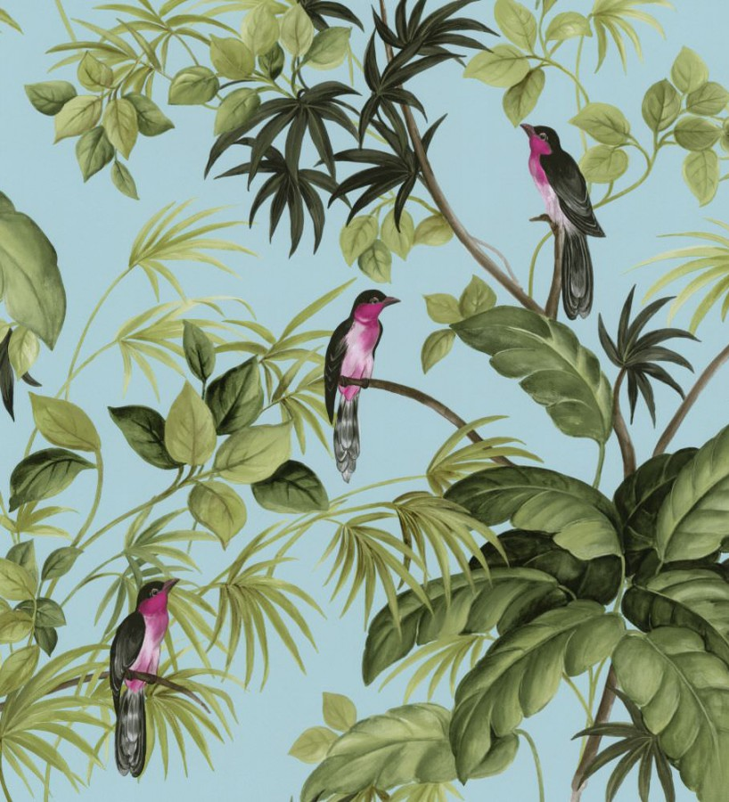 Papel pintado de p jaros y plantas tropicales tropical - Papel pintado tropical ...