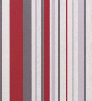 Papel pintado rayas desiguales rojo fondo blanco Raya Merit 421614