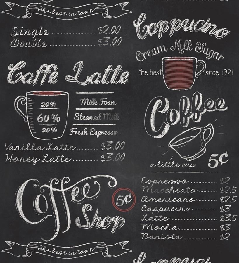 Papel pintado tienda de café blanco fondo negro Coffee Shop 421621
