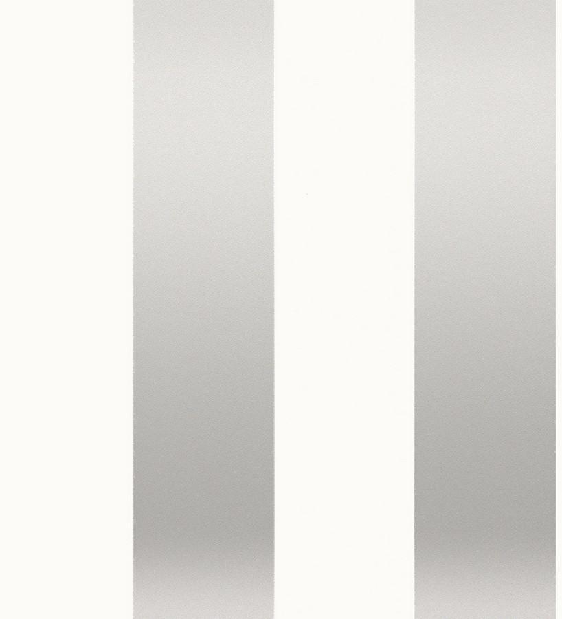 Papel pintado de rayas anchas plata metalizado fondo blanco Raya Cervantes 421628