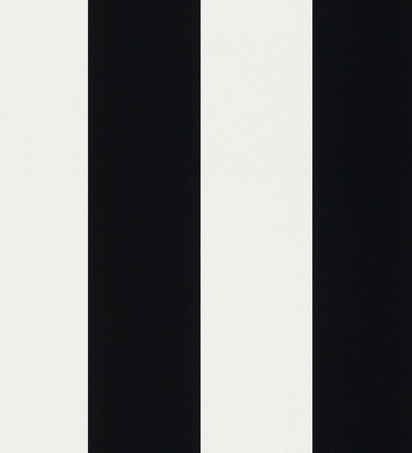 Papel pintado de rayas anchas negro fondo blanco Raya Cervantes 421630