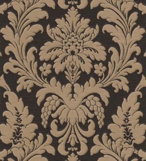 Papel pintado barroco de damasco italiano marrón claro fondo negro Livorno 421635