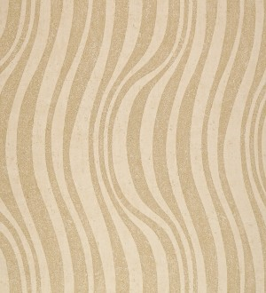 Papel pintado de rayas y líneas onduladas ocre claro fondo avellana Umerle 421644