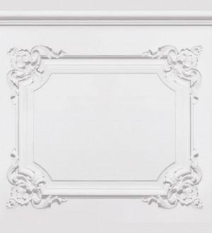 Papel pintado casetones de escayola con moldura barroca blanco Lazán 421648