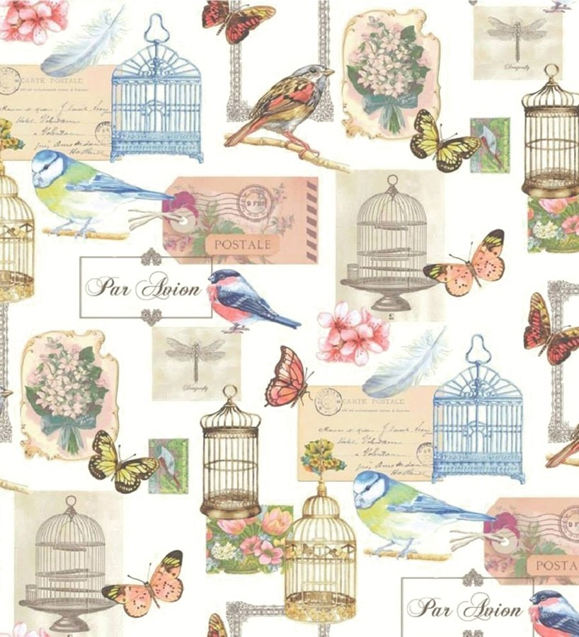 Papel pintado romántico de postales con jaulas y pájaros azul oscuro pálido fondo blanco Postcard Birds 421650