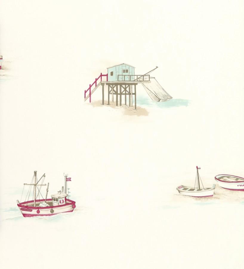Papel pintado motivos marineros barcos pesqueros y costa verde pastel claro fondo beige claro Portonovo 421533