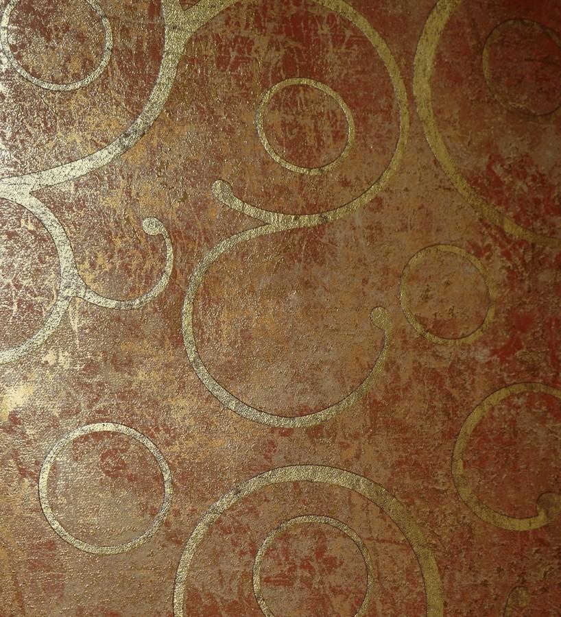 Papel pintado ornamental barroco moderno oro metalizado Villa Veneziana 421597